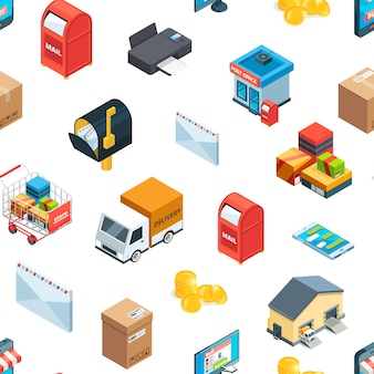 Isometric logistics and delivery icons pattern or illustration