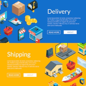 Isometric logistics and delivery icons web banner templates illustration