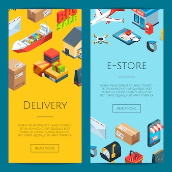 Isometric logistics and delivery icons web banner templates