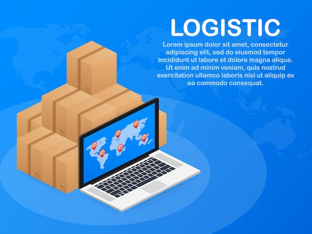 Isometric logistics and delivery template. delivery home and office. city logistics.