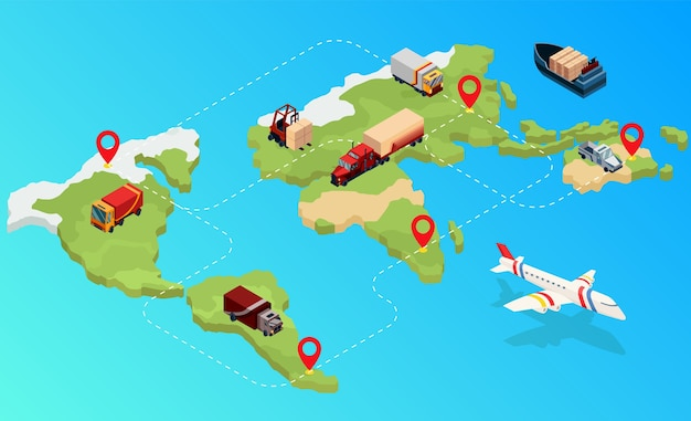 Isometric logistics. global isometric logistics network on map. international company worldwide operations with cargo distribution shipment and transportations