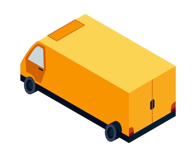 Изометрическая логистика. транспортный изометрический элемент. грузовик загружен. транспортное средство предназначено для перевозки большого количества грузов.