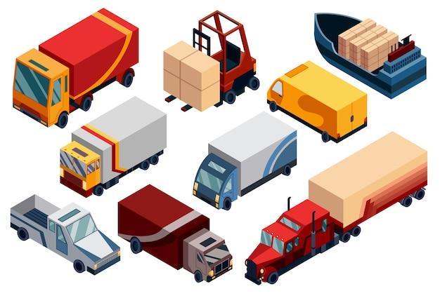 Изометрическая логистика. транспортные изометрические элементы с загруженными и пустыми грузовиками, прицепами, ящиками, погрузчиками.
