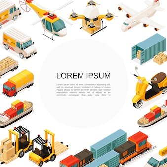 Isometric logistics and transportation template with helicopter drone airplane ship scooter trucks car forklift containers boxes