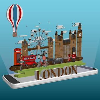 モバイル上の等角投影ロンドンシティ