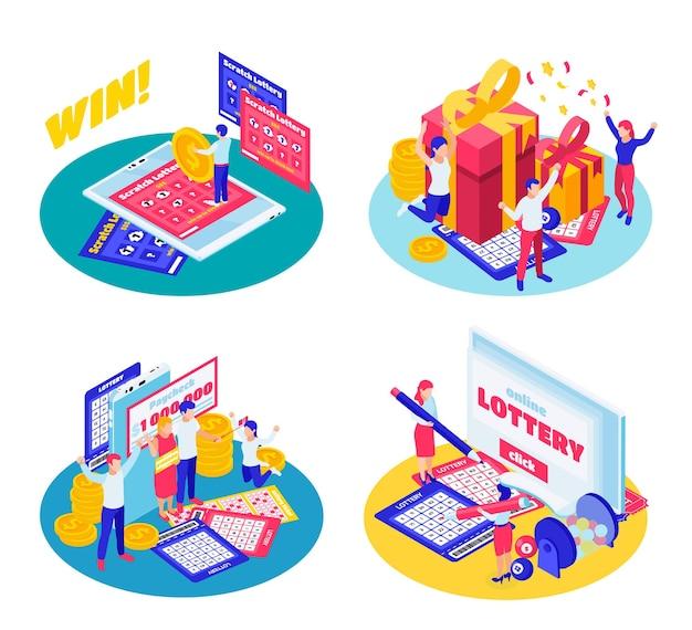 Isometric lottery illustration set