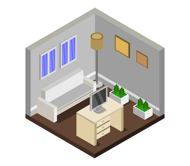 Isometric lounge room