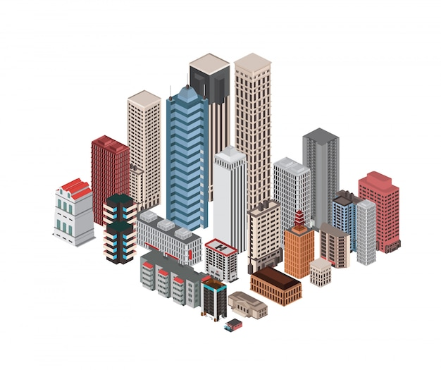 Isometric low poly city infrastructure