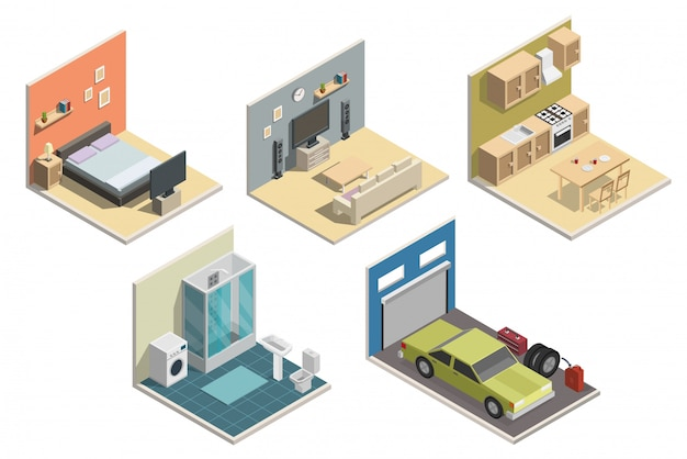 Isometric low poly interior vector illustration.