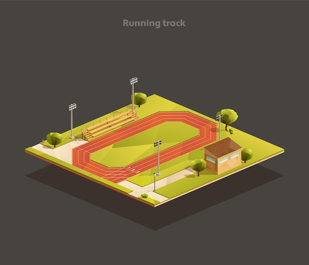 Isometric low poly outdoor running track
