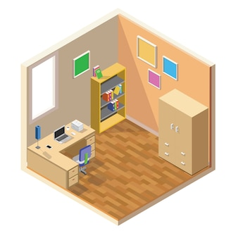 Isometric low poly room cutaway icon. room includes furniture, working table with laptop