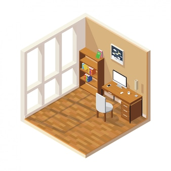 Isometric low poly room cutaway