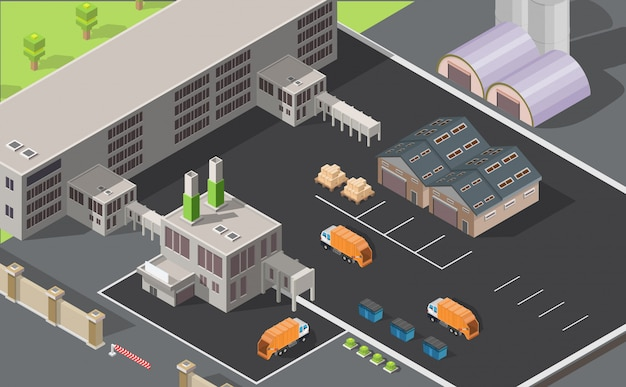 Isometric low poly waste processing plant infographic