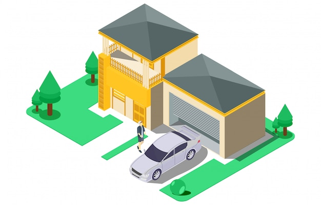 Isometric luxury house with large yard