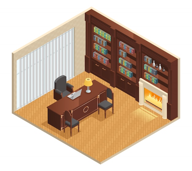 Isometric luxury interior for study with furniture laptop