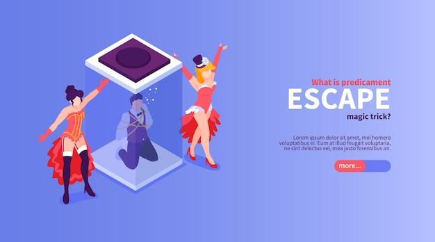 Изометрический фокусник показывает горизонтальный баннер с кнопкой текстового слайдера и каракули персонажей танцоров и иллюзионистов