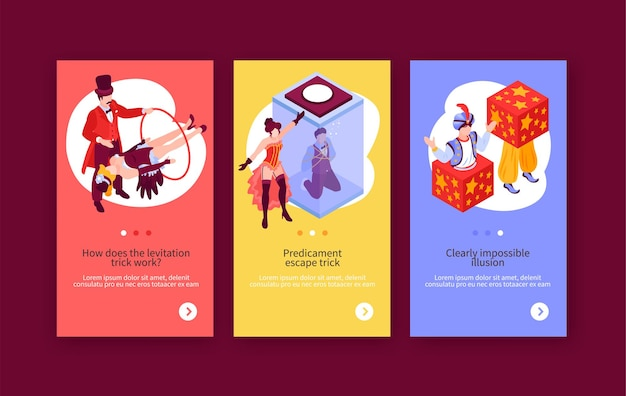 Isometric magician showing vertical banners set with doodle human characters editable text and switch page buttons