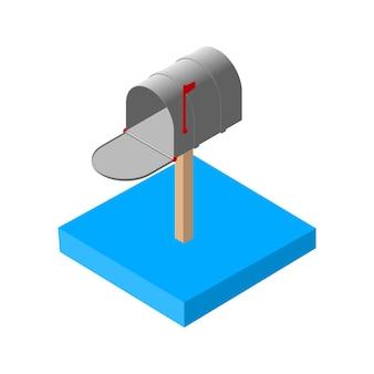 Изометрические значки почты 3d. пиктограммы почтового ящика электронной почты. отдельные векторные иллюстрации.