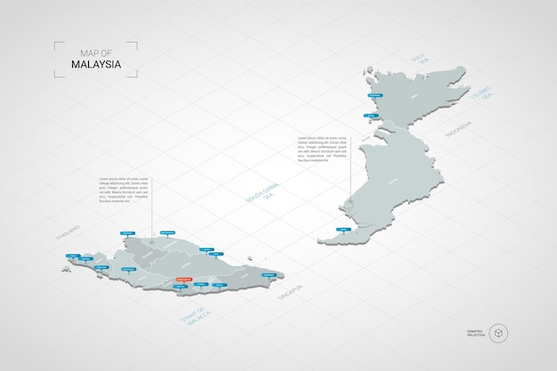Isometric   malaysia map. stylized  map illustration with cities, borders, capital, administrative divisions and pointer marks; gradient background with grid.