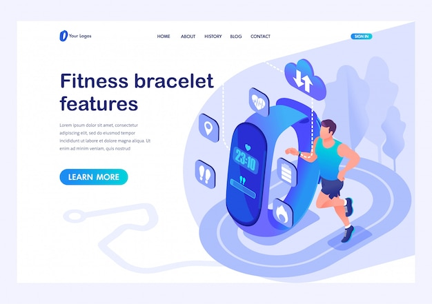 Isometric male athlete uses a fitness bracelet, the properties and performance of the device. template landing page for website