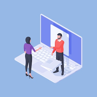 Isometric male expert with pile of documents consulting female employee using laptop and doing project remotely isolated on blue background