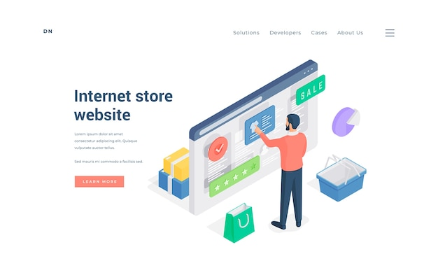 Isometric male standing near basket and paper bag and making purchases in online shop with good rating on banner of internet store website