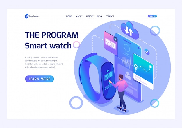 Isometric male uses fitness bracelet, adjusts smart watch program. template landing page for website