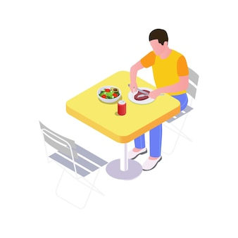 Isometric man having dinner at outdoor table 3d