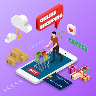 Isometric man shopping on smart phone.