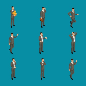 Isometric man with emotions,  businessman, in different poses with different emotions. use the character's appropriate character for advertising concepts