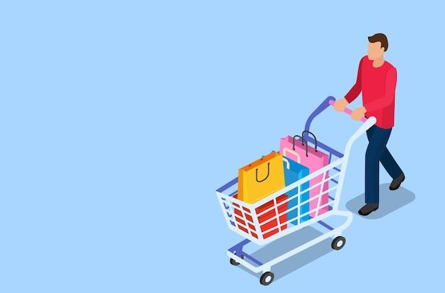 ショッピングカートを持つ等尺性の男。ショッピングとスーパーマーケットのコンセプト。フラットスタイルのベクトル図