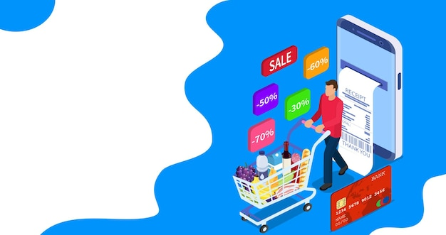 Isometric man with shopping cart. shopping and supermarket concept, can use for web banner, infographics. vector illustration in flat style