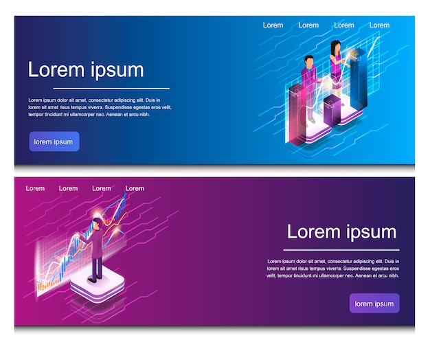 Isometric man and woman engaged in online analytic