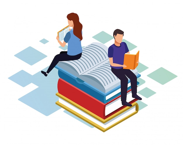 Isometric  of man and woman reading and sitting on stack of books over white background