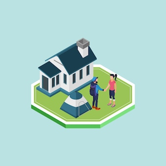 Isometric man and woman shaking hands in front of a house