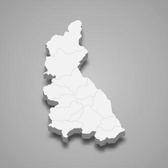 Isometric map of cajamarca is a region of peru