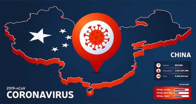 Isometric map of china with highlighted country  illustration. coronavirus statistics.  dangerous chinese ncov corona virus. infographic and country info
