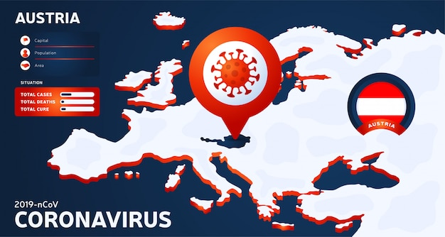 Isometric map of europe with highlighted country austria illustration. coronavirus statistics. dangerous chinese corona virus. infographic and country info.