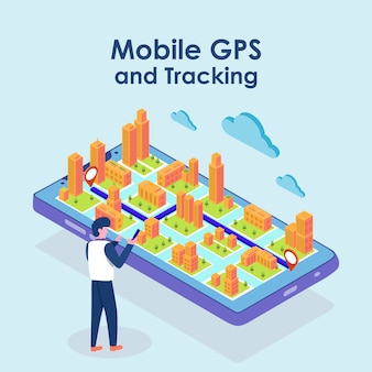 Isometric map gps navigation, smartphone map application and red pinpoint on screen