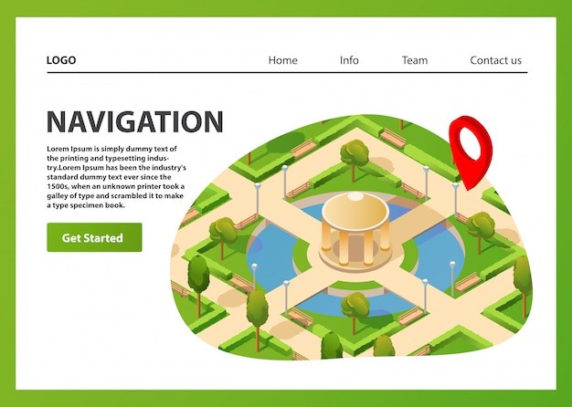 Isometric map mobile gps navigation. public summer park navigator pin red color.landing page template.