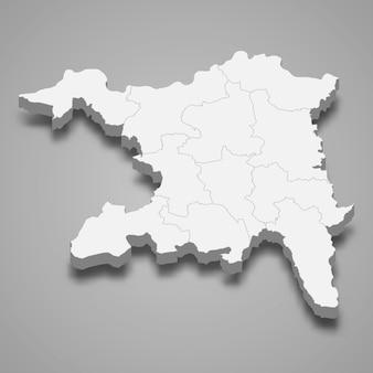 Изометрическая карта аргау - кантона швейцарии