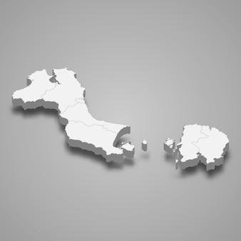 Изометрическая карта островов бангка белитунг - провинция индонезии