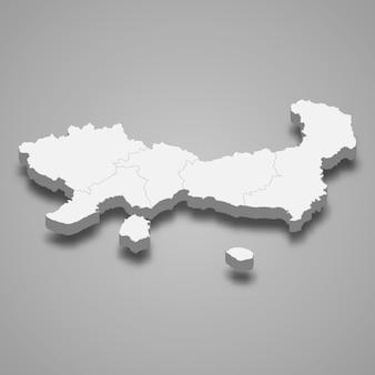 Изометрическая карта восточной македонии и фракии - региона греции