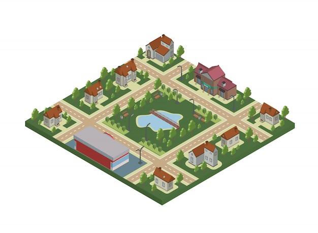 小さな町やコテージの村の等角図。民家、木、池または湖。白のイラスト。