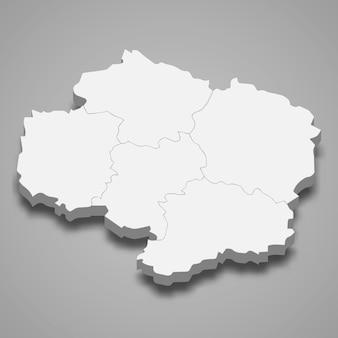 ヴィソチナの等角図はチェコ共和国の地域です