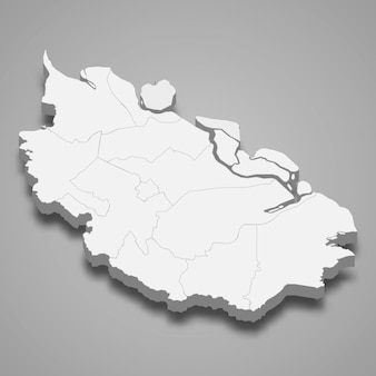 Isometric map of riau is a province of indonesia