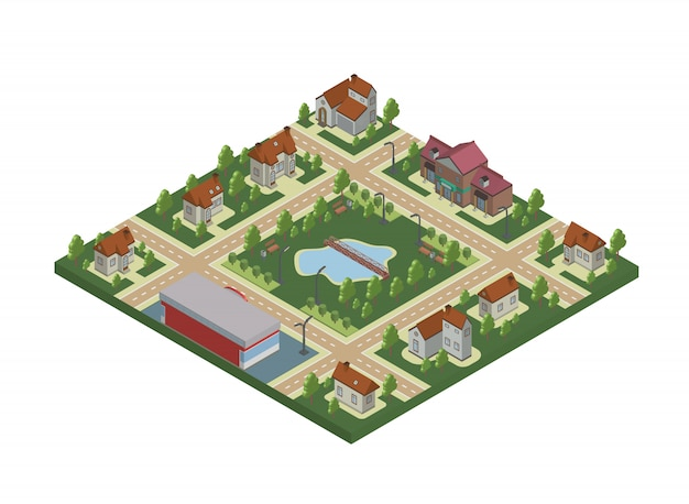Isometric map of small town or cottage village. private houses, trees and pond or lake.  illustration,  on white.