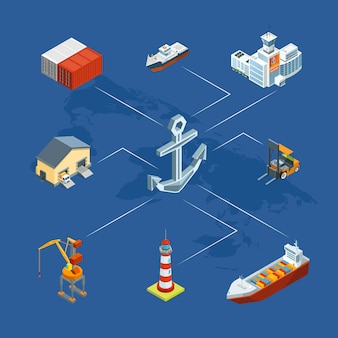 Isometric marine logistics and seaport infographic