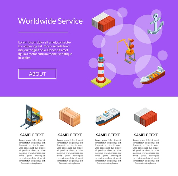 Isometric marine logistics and seaport landing page template illustration