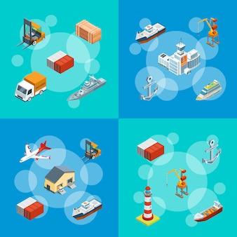 Isometric marine logistics and seaport set illustration